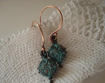 Turquoise Verdigris Dangles Drops Earrings Native Inspired