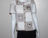 Vintage Sweater Sweet Kitties on Tan
