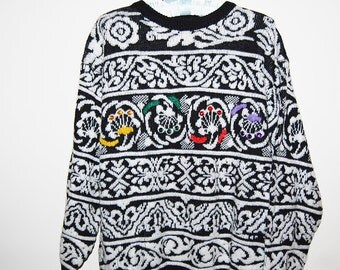 Vintage Sweater Hipster Gems on Monochrome Abstract