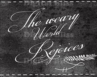 Digital Art Sale, Instant Download, Chalkboard Christmas,  World Rejoices, Original Design Merry Christmas Sign Black & White Calligraphy