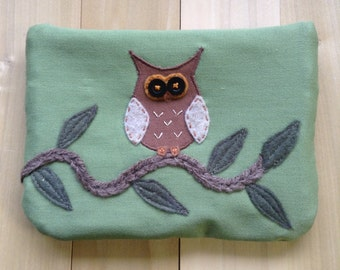 Owl On Branch, Large Pouch
