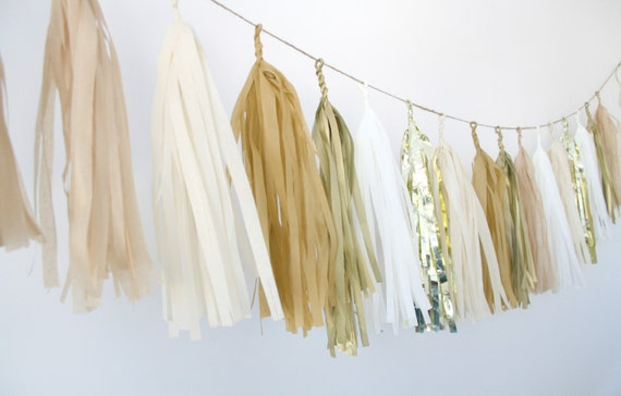 Gold Champagne Tassel Garland Metallic Neutrals Wedding Decor