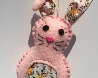 Pink felt Bunny ornament