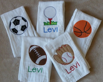Personalized Sports Burp Cloth SINGLES