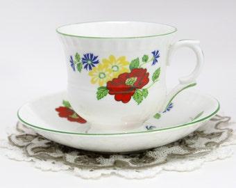Teacup Tea Cup and Saucer - English Crown Staffordshire - English Bone China 11462