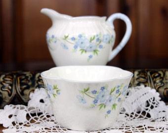 Cream Sugar Set from Crown Staffordshire, Creamer and Sugar, English Bone China,  12107