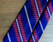 Vintage Men's Neck Tie Wide Mid Century Funky Red White and Blue Diagonal Stripe Como Italy