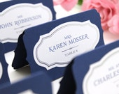 Custom Place Cards, wedding escort cards, printed or blank layered name tents, buffet labels, metallic ink available, unique die-cut bracket