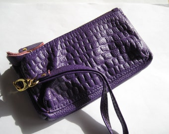 Destash-Purple Leather Wristlet