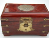 Vintage Chinese Jewelry Box With Chinese Old Style Lock & Key - Wood