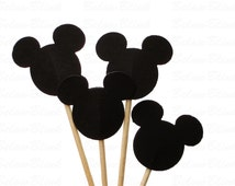 24 Disney Black Mickey Mouse Party Picks, Cupcake Toppers, Toothpicks, Food Picks, Drink Picks - No752