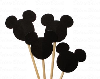 24 Black Mickey Mouse Cupcake Toppers, Birthday Party Decorations - No752