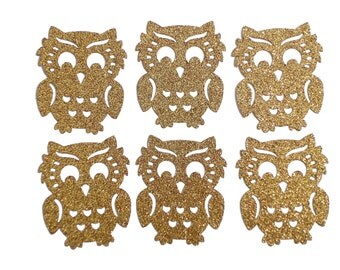 20 Glitter Gold Owl Confetti, Woodland Party Decorations - paper crafts and party supplies - No632