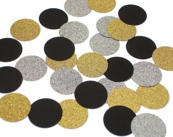 "50 Graduation Confetti, Glitter Silver Gold and Black Circle Confetti, 1"" Confetti Circles, Party Decorations - No539"