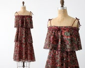FREE SHIP  1970s tiered watercolor dress