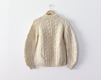 FREE SHIP  vintage fisherman sweater / 1970s cream chunky sweater