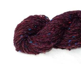 Pure Wool Recycled Yarn, Dark Burgundy with Specs, Worsted Weight, 113 Yards