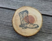 Rustic Old Cowboy Boot Natural Edge Wood Magnet #40