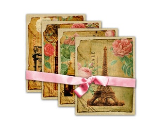 TAGs 70 Digital Collage Sheet Download Shabby Paris Postcards Gift Tags Hang Tags
