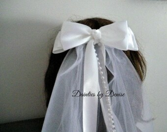 First Communion Boutique Tuxedo  Bow Veil with Knot Center,Ribbon and Pearl Streamers, New