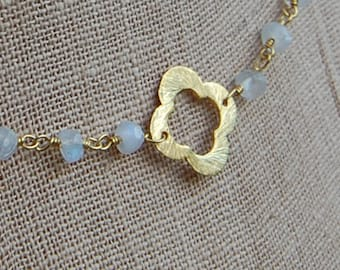 Brushed Gold Quatrefoil with Moonstone Necklace