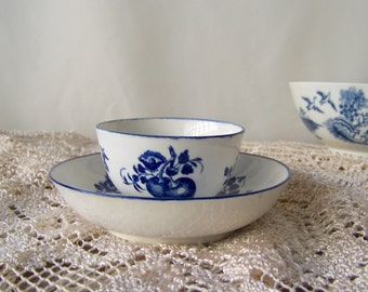 Antique Dr Wall Porcelain Teabowl and Saucer circa 1751 Worcester Porcelain 18th Century English Porcelain