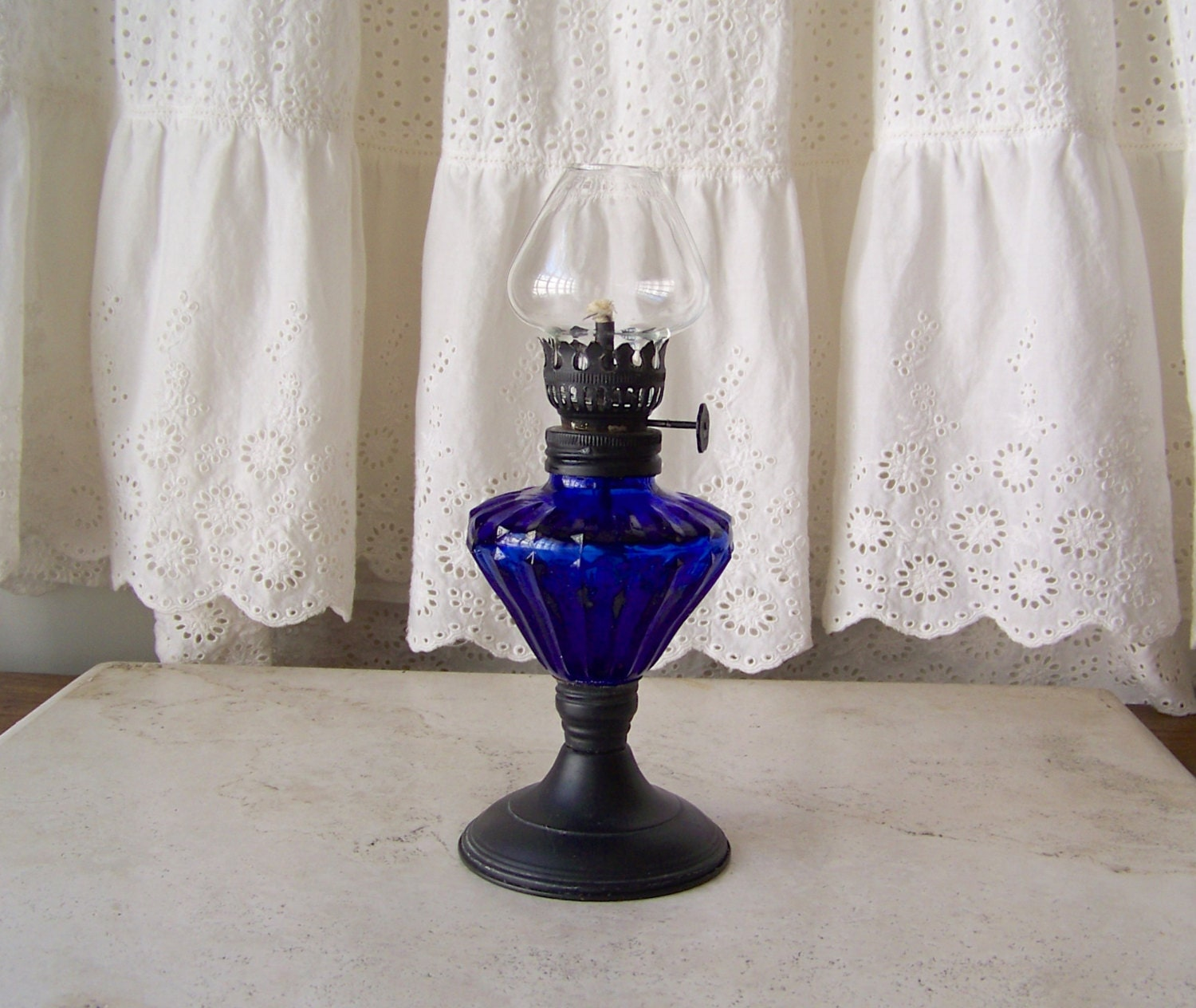vintage oil lamp cobalt blue glass miniature lamp by cynthiasattic. Black Bedroom Furniture Sets. Home Design Ideas