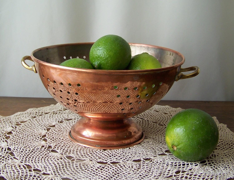Vintage Copper Colander Kitchen Colander Strainer Fruit Bowl