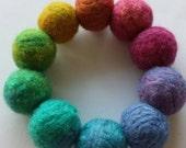 Hand Felted Fine Merino Wool Adults Rainbow Beaded Bracelet 'Rainbow'