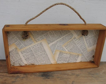 Vintage Wood Shelf Box with Rope Handle - Decoupaged with Dictionary Pages - Primitive Box