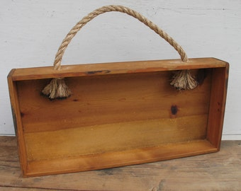 Vintage Wood Shelf Box with Rope Handle - Primitive Box