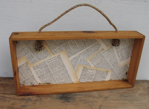 Vintage wood shelf box with rope handle decoupaged
