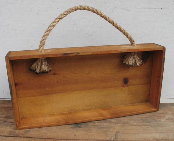 Vintage wood shelf box with rope handle primitive