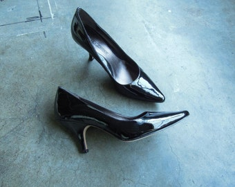 Circa Joan & David Black Patent Leather Pointy Toe Heel Pumps Size 6 1/2 M