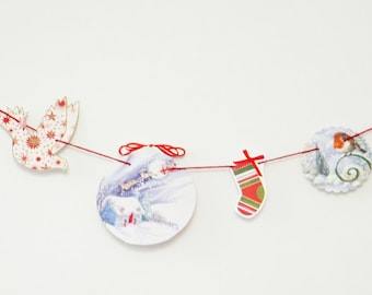 SALE Christmas Bunting, OOAK Christmas garland, paper bunting, recycled banner, upcycled bunting, snowman, Christmas decorations