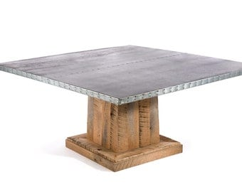 Zinc Table Zinc Dining Table Square Zinc Table Square Zinc Dining Table - The Santa Fe Square Zinc Top Dining Table - Reclaimed Oak Base