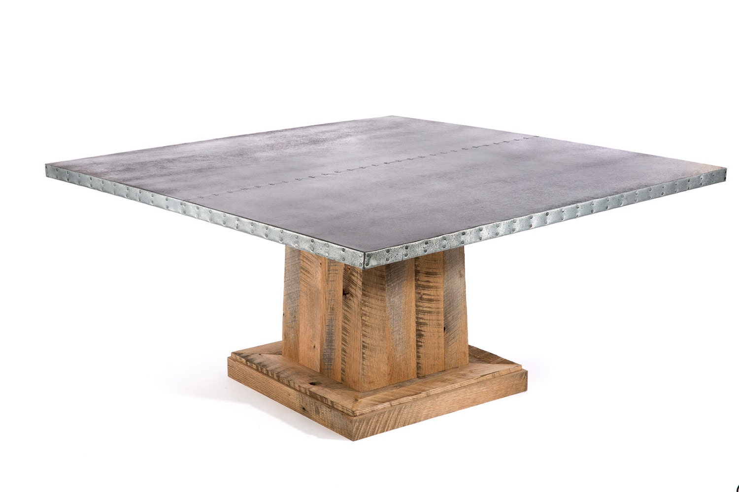 Zinc table zinc dining table square zinc table square zinc for Table exterieur zinc