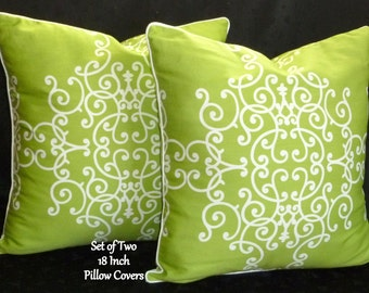 Pillows, DecorativePillows, Throw Pillows, Accent Pillows, 18 Inch Pillows - Set of Two 18 Inch Decorative Pillow Covers - Lime Green