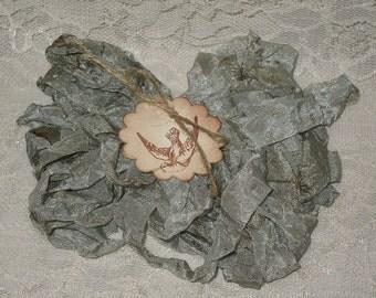 Scrunched Seam Binding ribbon, 10 Yards Tea Stained Seam Binding , Crinkled Tea Stained French Blue Seam Binding