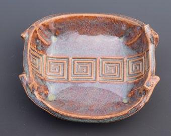 Handmade Ceramic Decorative Warm Caramel Tan Blue Cream Spoon Rest Soap Dish Key Dish Change Dish SF ETSY