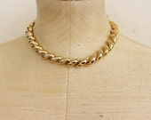 80s 90s Gold Choker 16 Inch Rope Cable Necklace