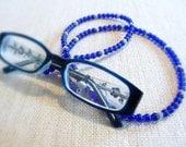 Cobalt Blue Beaded Eyeglass Holder, Eyeglass Lanyard, Glasses Holder, Lanyard For Prescription or Reading Glasses, Beaded Glasses Chain