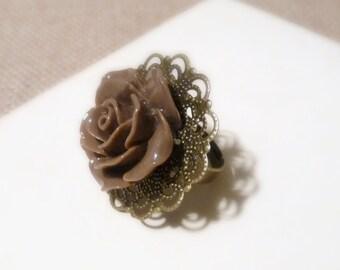 Chocolate Brown Rose Adjustable Ring, Antique Bronze Filigree Ring Base, Large Resin Ring, Rose Cabochon, Chocolate Rose Flower Ring