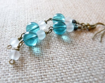 Extra Long Blue Dangle Earrings, Blue Beach Jewelry, Beach Earrings, Aqua Blue Jewelry, Frosted Glass Beads, Brass Earrings, Blue and White