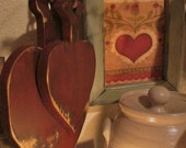 Hanging set of heart cutting boards primitive and distressed