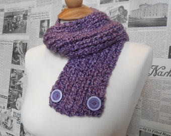 Purple Two-Way Scarf with Buttons