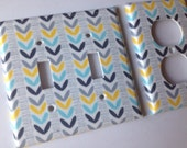 Light Switch Cover / Yellow Aqua Gray Double Light Switchplate Set/ Yellow and Gray Decor / turquoise and Gray Nursery / Bathroom / Grey Hom