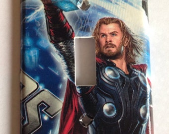 Thor Light Switch Cover / Thor Single Light Switch Plate / Comic Room Decor / Avengers Mancave Decor / Boy Comic Room / Avengers Nursery
