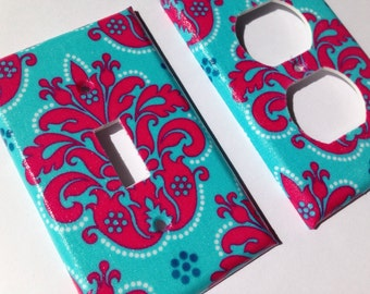 Light Switch Plate Cover / Pink Aqua Damask Single Toggle Light Switchplate / Paris Bedroom Decor / Pink Aqua Nursery Decor/ Turquoise Decor