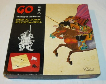Vintage Oriental Strategy Game of GO - The Way of the Warrior - Solid Wood Birch Board - Crisloid 1980s